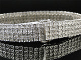White Gold Finish 4 Row Real Genuine Diamond 13 MM Bracelet Bangle 8.5 Inch - FANATICS365