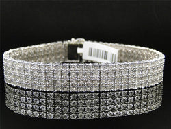 White Gold Finish 4 Row Real Genuine Diamond 13 MM Bracelet Bangle 8.5 Inch