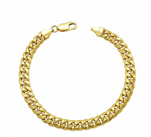 10K Solid Yellow Gold 6.5mm Wide 8.7 Grams Miami Cuban Link Men's Bracelet 8