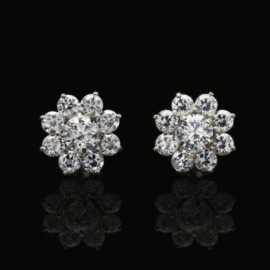 1.5Ct Created Round Diamonds 2 in 1 Flower Jacket Stud Earrings 14K White Gold - FANATICS365