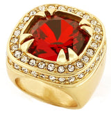 YELLOW GOLD FINISH RED RUBY RING - FANATICS365