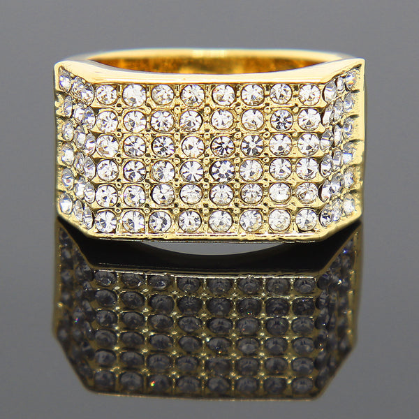 14K GP Rectangle 6 Line CZ Ring - FANATICS365