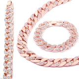 Rose Gold Finish Iced Out CZ Chain & Bracelet Cuban Style - FANATICS365
