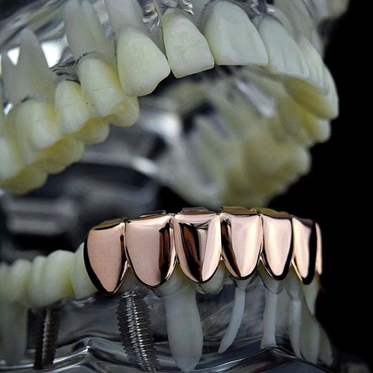 14K ROSE GOLD PLATED 8 TOOTH BOTTOM GRILLZ - FANATICS365