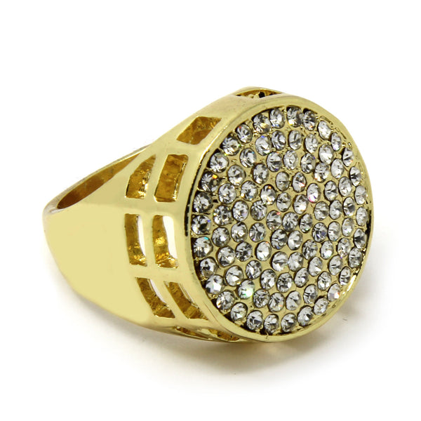 14K GP Hip Hop Iced Round CZ Ring - FANATICS365