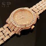 Iced out Rose Gold Techno Pave Bling Watch - FANATICS365