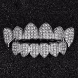 Iced Out SILVER Plated  CZ Top Fang & Bottom Fang GRILLZ - FANATICS365