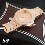 Iced Out Lab Diamond Luxury Rose Gold PT WATCH & BRACELET Gift Set - FANATICS365
