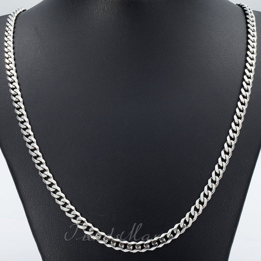18-36'' Stainless Steel 3/5/7/9/11 mm Silver Tone Cuban Curb Chain Necklace or Bracelet - FANATICS365