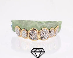 Custom 10K 14K Plated Gold Grillz Dust Cuts Diamond Dust Style Silver Top & Bottom - FANATICS365