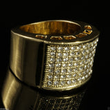 14k GP Band Micropave CZ AAA Iced Out Pinky Ring - FANATICS365