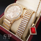 Iced Out Gold PT Simulated Diamond WATCH, BRACELET & NECKLACE Set - FANATICS365