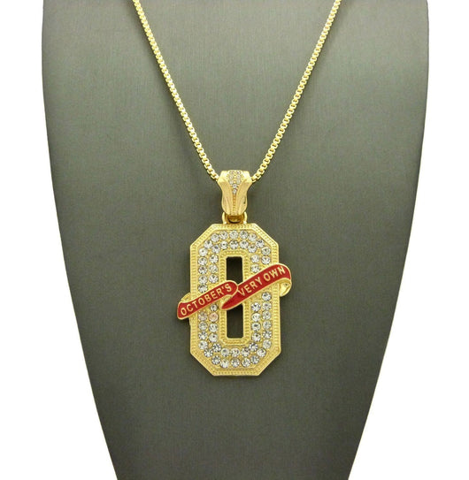 ICED OUT GOLD PT OVO 'O' PENDANT & 24