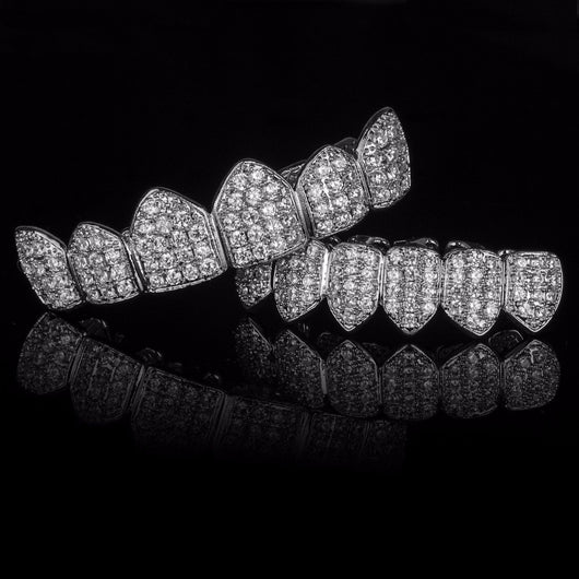 SILVER Plated CZ Top & Bottom GRILLZ Mouth Teeth Grills - FANATICS365