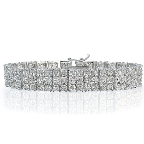 1.00ct TDW Diamond Miracle Set 3-Row Tennis Bracelet in Brass - FANATICS365