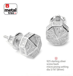 Silver Iced Out Mini Octagon Screw Back Stud 8mm Earrings - FANATICS365