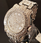 Iced out White Gold Techno Pave Bling Simulated Diamond Watch - FANATICS365