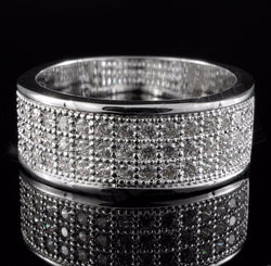 18K White Gold Iced Out BAND MICROPAVE Pinky Ring - FANATICS365