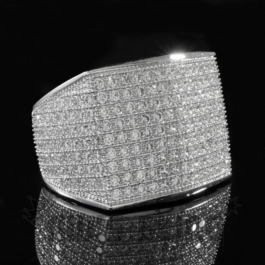18K White Gold 19mm ICED OUT 360 Simulated Lab Diamond Band MICROPAVE Ring - FANATICS365
