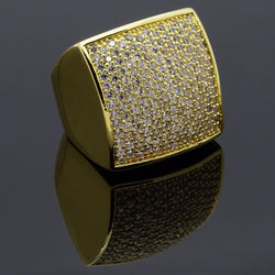Huge 24MM Square Ring Gold Plated Micro Pave CZ Iced-Out - FANATICS365