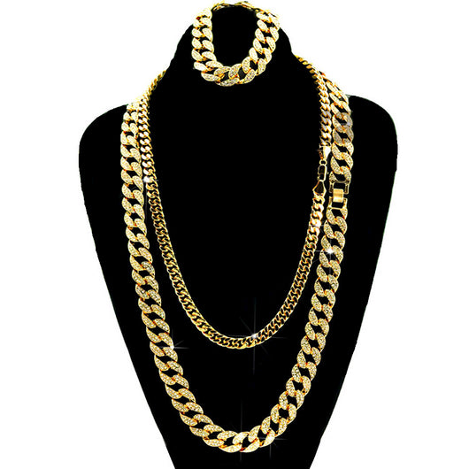 Gold Iced Out Lab Diamond Necklace 15mm 30