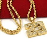 "Iced Out #23 Basketball Pendant 24"" Rope Chain Hip Hop Necklace - FANATICS365"