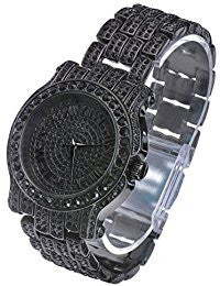 Analog Stainless Steel Iced Out Black Gun Metal Watch - FANATICS365