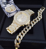 QUAVO GOLD PT LUXURY WATCH,  ICED CUBAN BRACELET & EARRINGS Bling Box - FANATICS365