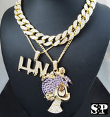 "LIL UZI VERT 16"" Full Iced Cuban Choker & CARTOON & LUV pendant Chain Set - FANATICS365"