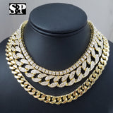 "Quavo Choker 18"" Cuban, 16"" Full Iced Cuban & 1 ROW DIAMOND CHAIN SET - FANATICS365"