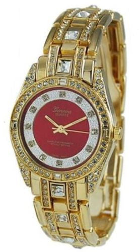 Iced Hip Hop CZ Crystal 14K Gold Plated Metal Geneva Red Ruby Dial Watch - FANATICS365