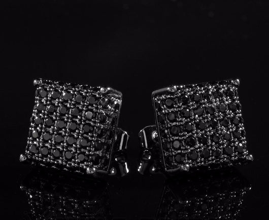 18k Black Gold ICED OUT AAA Lab Diamond Micropave Square Stud Earrings 8M - FANATICS365