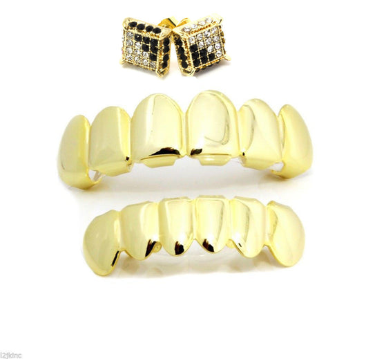 14K GP Grillz Top & Bottom Set plus Micro Pave Earrings - FANATICS365