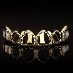 14K Gold & Silver Plated Hollow Up Down Diamond Cut Cap Top Grillz - FANATICS365