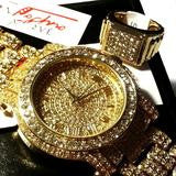 ICED OUT GOLD TONE SIMULATED DIAMOND WATCH & RING SET - FANATICS365