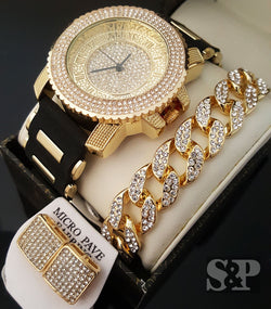Iced Out Gold PT CZ WATCH & Cuban Bracelet & Earrings Combo Gift Set - FANATICS365