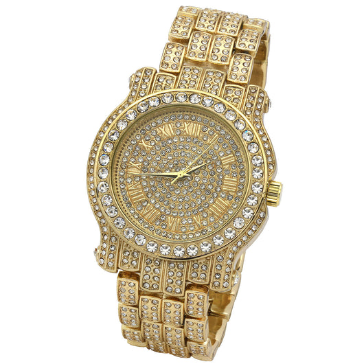 Fully Iced Out GP Face Wrist Watch - FANATICS365
