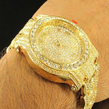 Iced Out Gold Tone Techno Pave Simulated Diamond Watch - FANATICS365