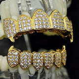 18k CZ Iced-Out Micro Pave Gold Plated Fangs Grillz Set - FANATICS365