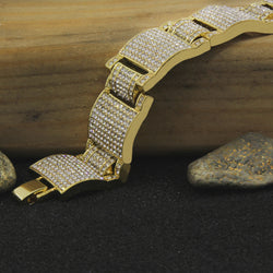 14K GP Dome Bracelet Fully Cz Iced Out Finish Hip Hop Style Link 9