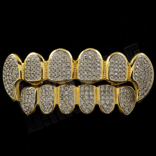 18K Gold Plated CZ Fangs Rhodium GRILLZ Set - FANATICS365