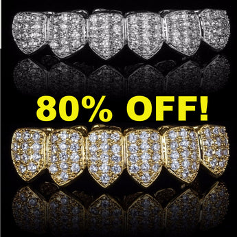 (Pre-Made) 18K Gold Plated HQ CZ Grillz - FANATICS365