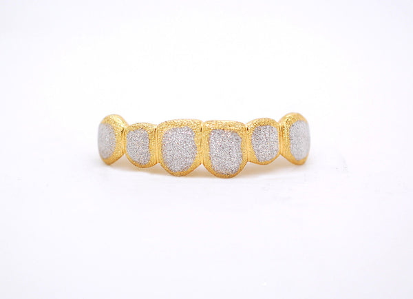 Custom 10K 14K Gold Grillz Plated FULL Diamond Dust Style Bullet Punchout Silver Top & Bottom Two Tone - FANATICS365