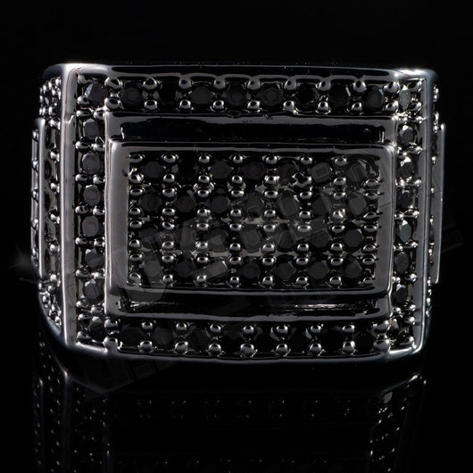 18K Black Gold Iced Out Championship Band MICROPAVE CZ Pinky Ring - FANATICS365