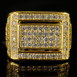 18K Gold Iced Out Hip Hop Championship Bling MICROPAVE Cubic Zirconia Pinky Ring - FANATICS365