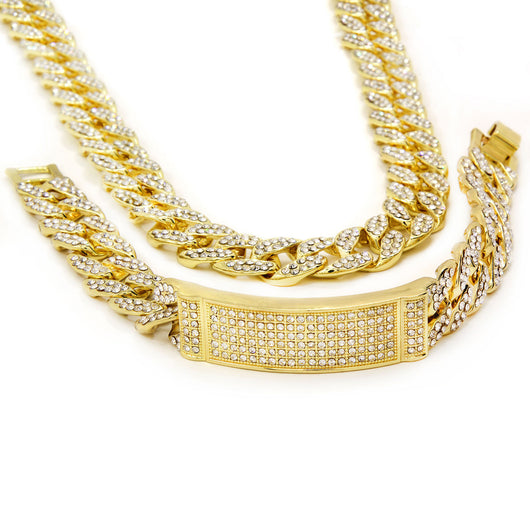 Chain & Bracelet 14k Gold PT Fully Cz Iced Out Finish Miami Cuban Style - FANATICS365
