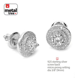 Iced Out Silver 3 Layer Round Micro Pave Screw Back Stud Earrings - FANATICS365
