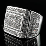 18K White Gold Silver Iced Out Championship Bling MICROPAVE CZ Ring - FANATICS365
