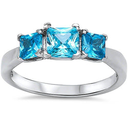 3 Princess Cut Elegant Blue Topaz .925 Sterling Silver Ring - FANATICS365