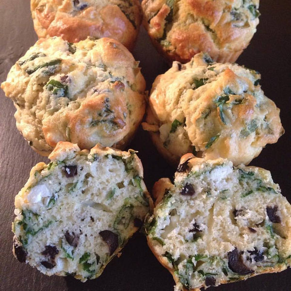 Spinach, feta and olive muffins